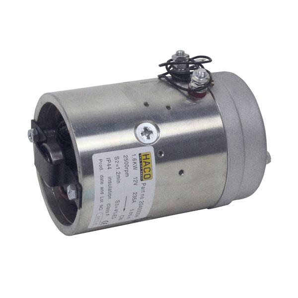 Motor 1,6kW 12V open female clockwise HACO
