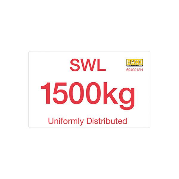 Label SWL 1500kg HACO