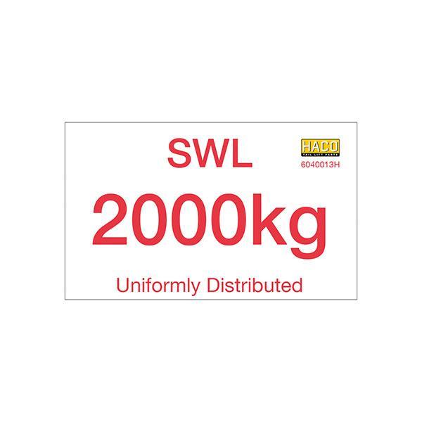 Label SWL 2000kg HACO